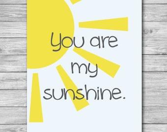 Baby Nursery Print - You Are My Sunshine Sky Wall Art 8 x 10