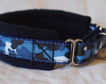 Fleece Lined Martingale Dog Collar - Blue Camo - 50mm Width