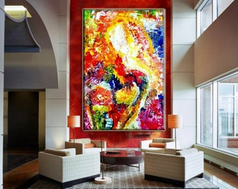"""Acrylic Handmade Abstract Painting GALLERY ARTWORK - 36""""-, Original Acrylic Painting on Canvas Contemporary Painting Wall Art"""