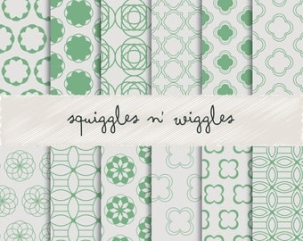 Quadrefoils and More: Beautiful Patterns in Green and Gray Digital Papers suitable for scrapbooking, cards and more!