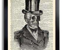 Victorian Skull Skeleton Top Hat Art Print, Gothic Wall Decor Poster, Gothic Dictionary Art, Gifts for Boyfriend, Skeleton Artwork 386