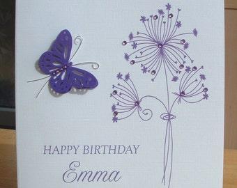 Personalised card, birthday card, floral birthday card, butterfly card, UK seller, greeting card, handmade card, happy birthday card