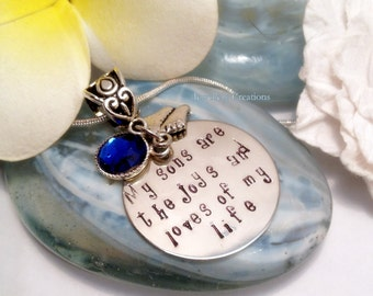 "Necklace Hand Stamped ""My Sons are the Joys and Loves of my Life"""