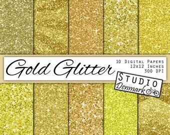 Gold Glitter Digital Paper - Golden Sparkle Chunky Glitter Chevron - Bronze Metallic Shine - 10 Papers - 12in x 12in - Instant Download