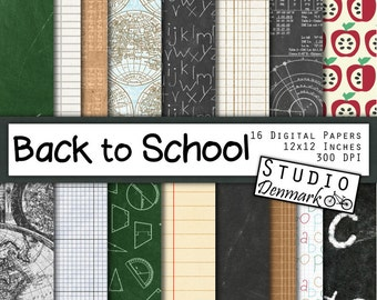 Back to School Digital Paper - 16 Chalkboard / Maps / Math / Notebook Paper - 12in x 12in - Instant Download Education Theme Digital Paper