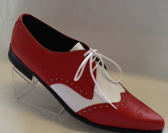 Bugsy Brogue Winklepicker Shoe in Red /White Leather