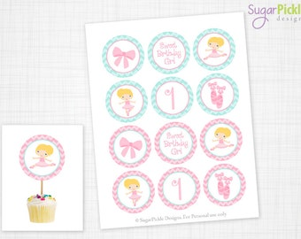 Ballet Cupcake Toppers, 1st Birthday, Ballet Birthday Toppers, Ballet Toppers, Ballet Party Decorations - 2.25 inch