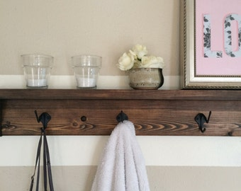 Five hook reclaimed wood towel rack // coat rack with shelf