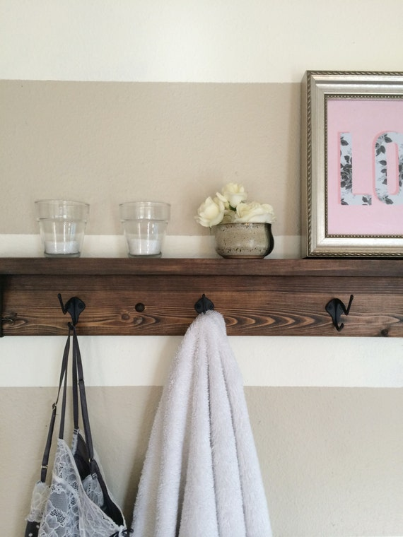 Five Hook Reclaimed Wood Towel Rack Coat Rack By Kayandedna