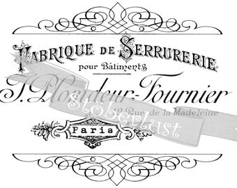 INSTANT Download  vintage frame with french advertising - 19th century Serrurerie Paris