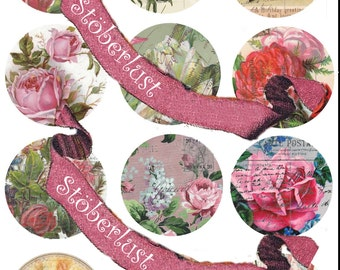 Instant download 2.5 Inch Circles Digital Collage Sheet Shabby FlowersDigitalcollagesheets, Printables, Downloads