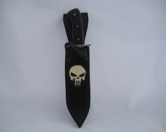 Handcrafted leather knife sheath with skull tooling, bowie knife is included