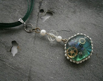 Fantasy Steampunk Style Pendant Necklace Emerald Green