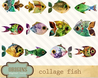 Vintage Fish Clipart, Collage Scrapbook Fish Clip art Embellishments, Instant Download commercial use illustrations