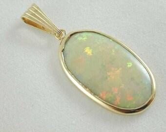 Handmade 9CT Yellow Gold Deep Natural Opal Pendant 37MM
