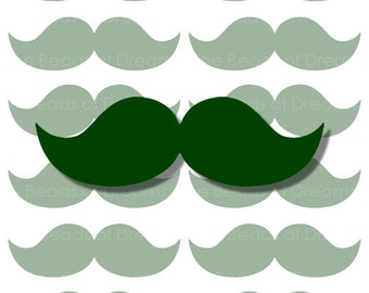 12 large green Mustaches - mustaches tag - Printable digital collage sheet - mustaches party - INSTANT DOWNLOAD (cs0087)