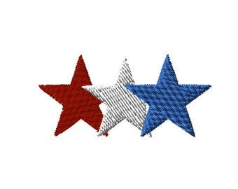 Patriotic Stars - Red -White - Blue Machine Embroidery Design