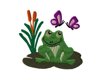 Frog Lily Pad and Butterflies Machine Embroidery Design