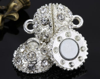 Crystal Magnetic Clasp - Silver plated brass - 12mm 10set