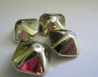 Vintage buttons. 4 matching pyramid shaped, gold, heavy, solid, metal (422)