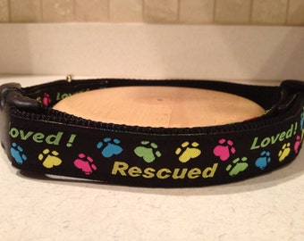 """Rescued Dog Large and Medium Dog Collar 1"""" with optional matching leash"""
