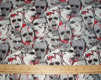 Cotton fabric ZOMBIE and more Zombies red gray and black! (DT)