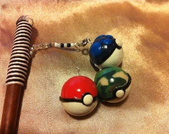 Pokemon Interchangeable Pokeball hair stick - Heavy ball, safari ball, original pokeball light 2