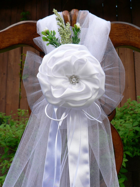 Set of 12 white pew bows satin tulle jeweled pearl in the - Bow decorations for weddings ...