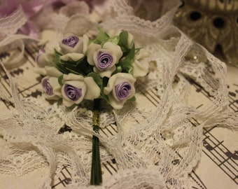 White Porcelain w/ Lavender Ribbon Center Roses