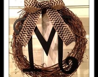Chevron Grapevine Monogrammed Wreath - Personalized Wreath - Fall Wreath  - Winter Wreath - Summer Wreath - Spring Wreath - Large Wreath  -