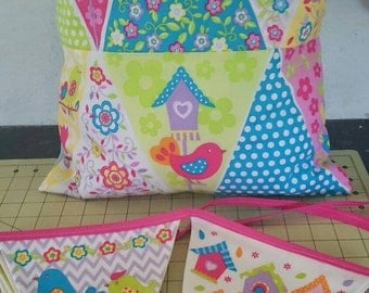 Patchwork birdy bunting and pillow, unique and.handmade to order ideal Christmas gift