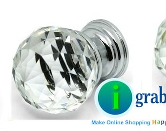 Luxurious 20mm Crystal Clear Glass Knob Drawer Pull