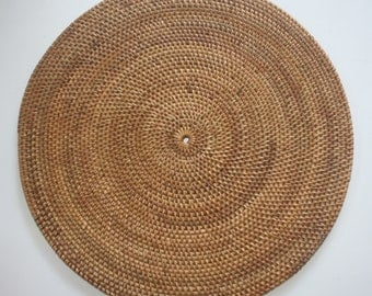 SET OF 4 Balinese Handmade - Tight weave Round Rattan Placemats