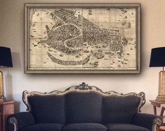 "Map of Venice 1729, Vintage Venice map in 5 sizes up to 63x36"" (160x90 cm) large wall map of Venezia Italy - Limited Edition of 100"