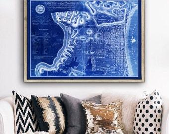"Philadelphia map 1797, Old map of Philadelphia, 4 sizes up to 48x36"" (120x90 cm) Philadelphia, Pennsylvania - Limited Edition of 100"