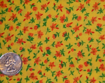 Floral Calico Red Yellow Green Cotton Quilting Fabric 1 7/8 yard