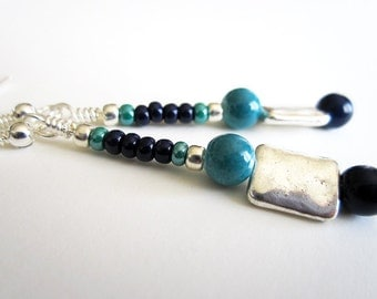 Sparkling Silver, Teal and Navy Beaded Earrings