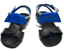 45% OFF ON SALE Indiana - Women's Black Royal Blue White Leather Sandals Flats Shoes Summer Thongs Flip Flops Casual Boho Beach Size 6 7 8 9