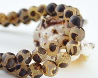 14.5 Inch  Tibetan Agate dZi beads  10MM   Round  Bead