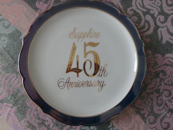 Vintage Saji 45th Sapphire Anniversary Plate Wedding