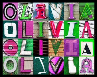 Personalized Poster featuring OLIVIA (Pink & Green) in photos of sign letters; Typography print; Wall decor; Custom wall art; Name poster
