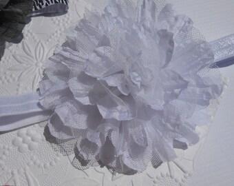 White Frayed Lace Chiffon flower Baby Headband, Newborn Headband,  Infant Headband,Baby Headband, Headband Baby, Baby Headband