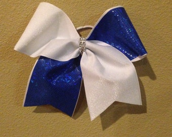 """Royal blue and white 3"""" cheer bow"""
