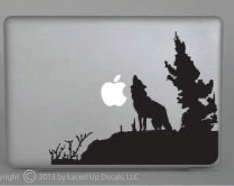 Wolf Howling Macbook pro vinyl decal sticker © Laced up Decals SKU:Wolf Howling- 33