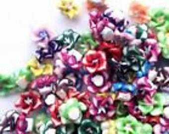 8mm cabachon flower polymer clay mixed color 10 pcs