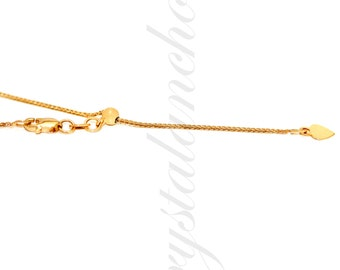 14K Pure Solid Yellow Gold Square Wheat Adjustable Chain Necklace