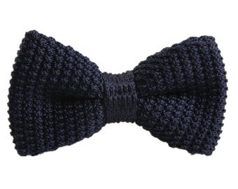 Navy Knitted Bowtie.Plain Navy Bowtie.Mens Wedding Bowtie.Mens Gifts.Gift Ideas.
