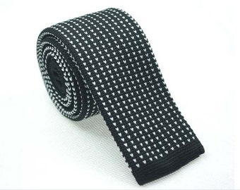 Black Knit Necktie with Mini White Patterns.Knitted Ties for Men.Skinny Knitted Tie. Knit Wedding Neckties