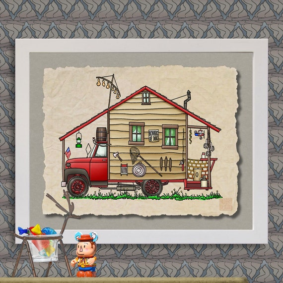 Redneck Camper Happy Camper Art Cute Whimsical Travel Trailer