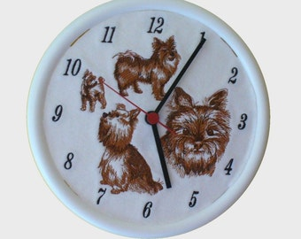Wall Clock with Yorkshire Terrier Embroidered Clock Face